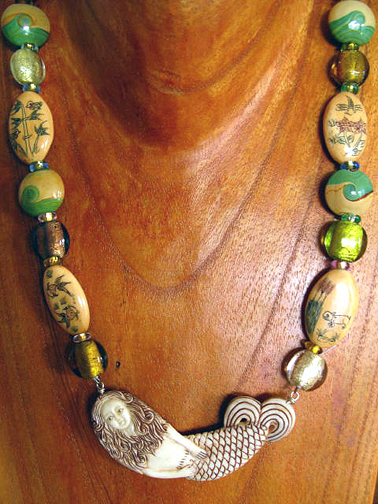 Sun Heart Goddess Kwest Scrimshaw Mermaid Necklace With Painted Rondles Opals Lamp Work Beads Necklace